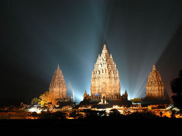 Prambanan temple at night, Indonesia