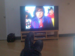 Greyson's feet watching Austin Powers