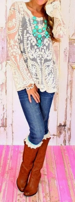 Floral detail lace summer tunic blouse