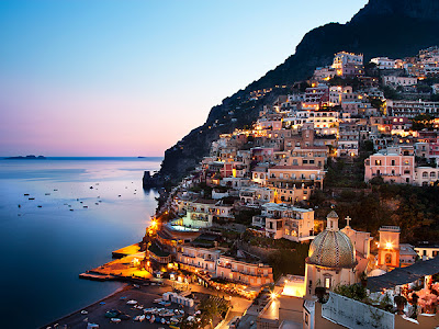 Positano, Amalfi, Italy, Night, Town