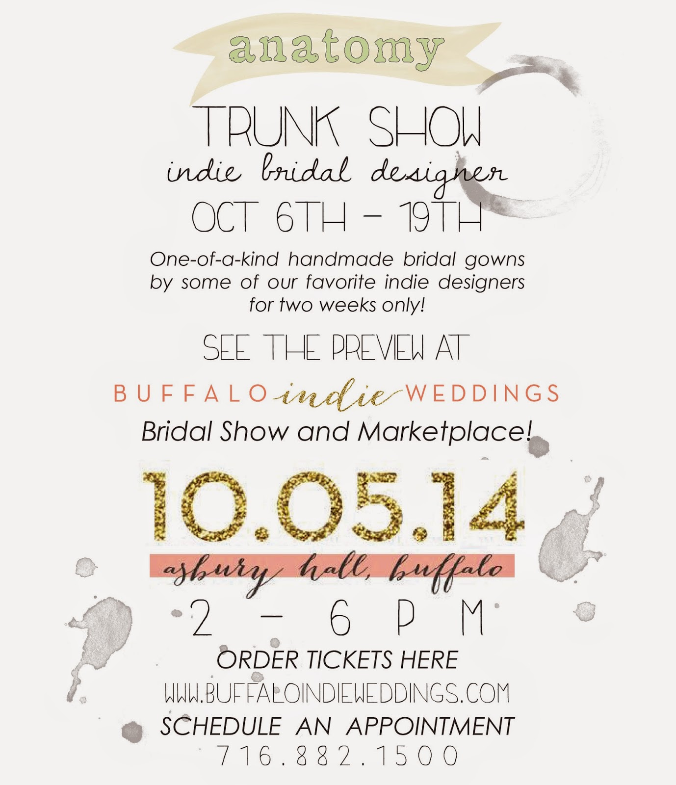 anatomy Bridal Designer Trunk Show of Indie Wedding Dresses ...