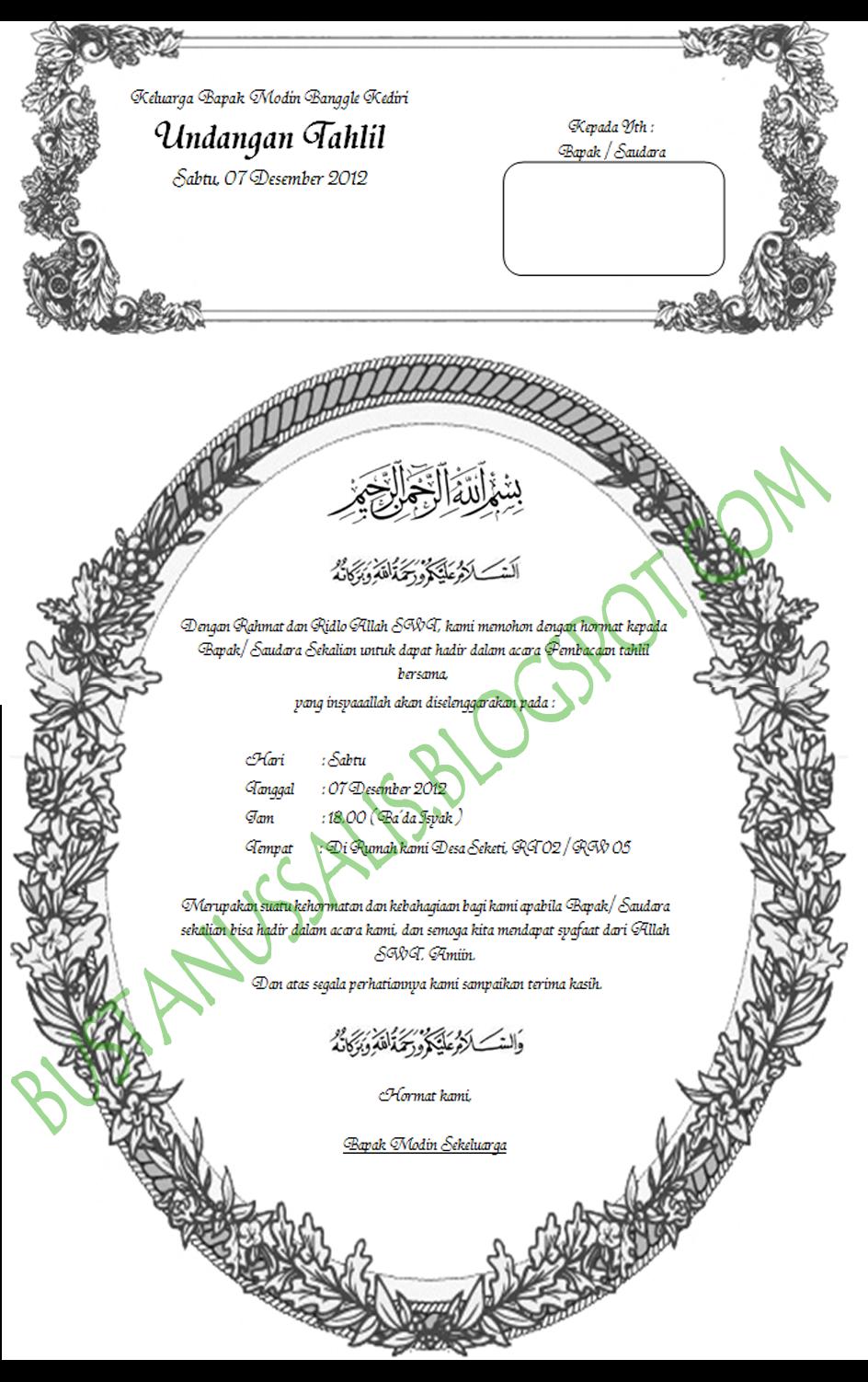 undangan Walimatul Ursy, tahlil dan Aqiqah dengan format .docx ( Ms ...