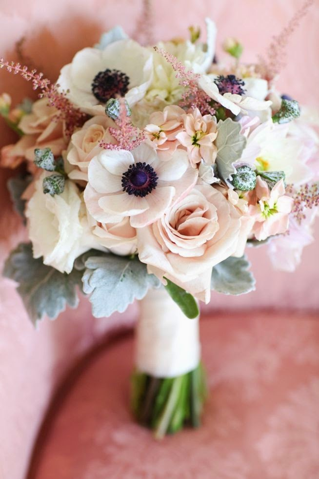 Wedding Flowers Available In October In Australia : Beautiful bridal romantic anemone bouquets