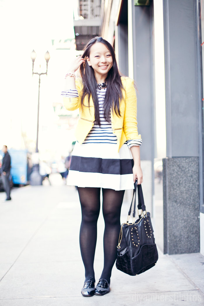 striped saint james tee, striped lulu's mini skirt, free people leather oxfords, san francisco, zara yellow tweed zipper jacket, diya liu
