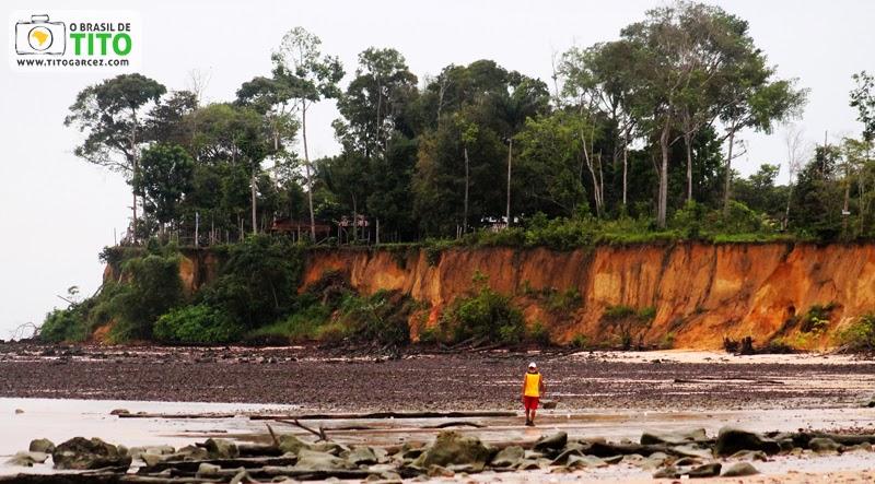 Barranco e vegetação na praia do Vai-Quem-Quer, na ilha de Cotijuba, no Pará