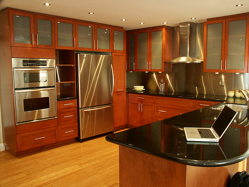 Inspiring home design stainless kitchen interior designs with hardwood floors - Home kitchen design ideas ...