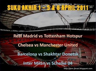 Jadual Suku Akhir 1 Liga Juara Juara Eropah 2011