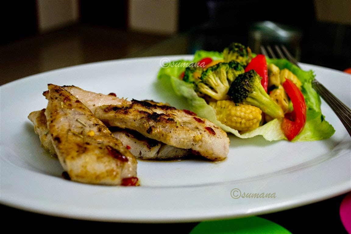Grilled fish with tossed vegetables recipe easy steps 2 cook for What vegetables go with fish