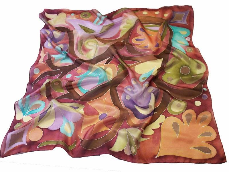 Tulipánfa - kézzel festett selyem kendők a Silkyway selyemfestő műhelyből
