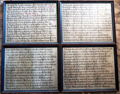 Widecombe church boards tell of the Great Thunderstorm of 1638