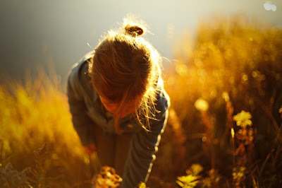 girl in field_vintage