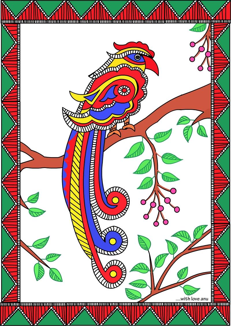 Madhubani Colouring Pages