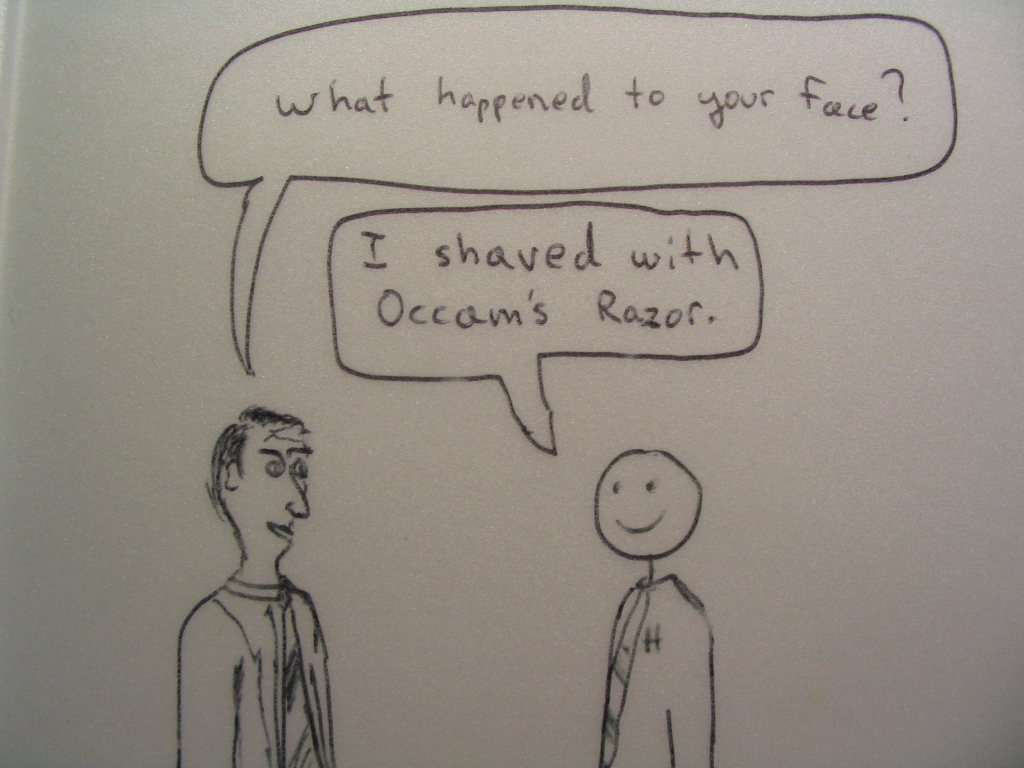 A smiley-face man tells his well-drawn friend that his face is so basic because he shaved with Occam's razor.