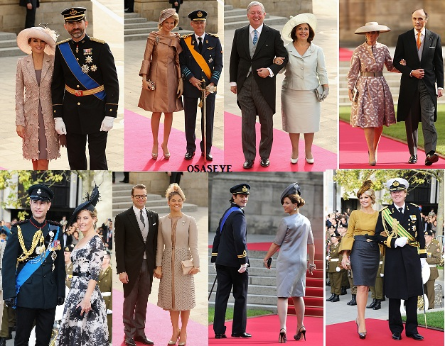 An array of royalty at Luxembourg Royal Wedding