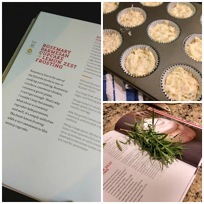 rosemary parmesan cupcakes with lemon zest frosting