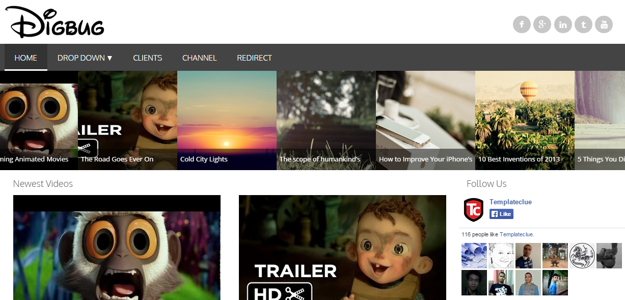Download Digbug – Responsive Video Free Blogger Template