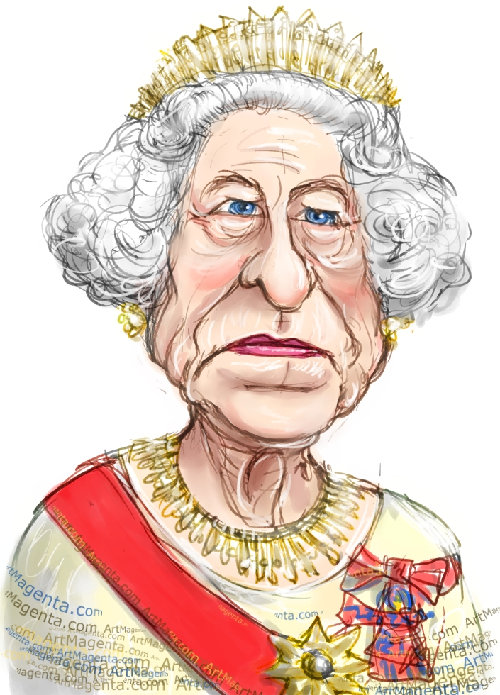 Queen Elizabeth II caricature cartoon. Portrait drawing by caricaturist Artmagenta