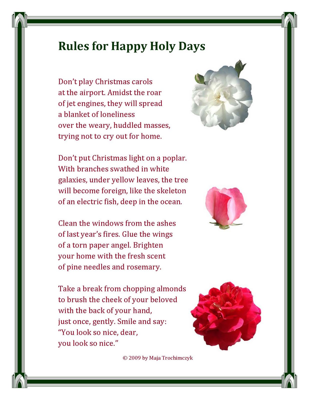 Christmas poems for church programs - Rules For Happy Holy Days Poem By Maja Trochimczyk