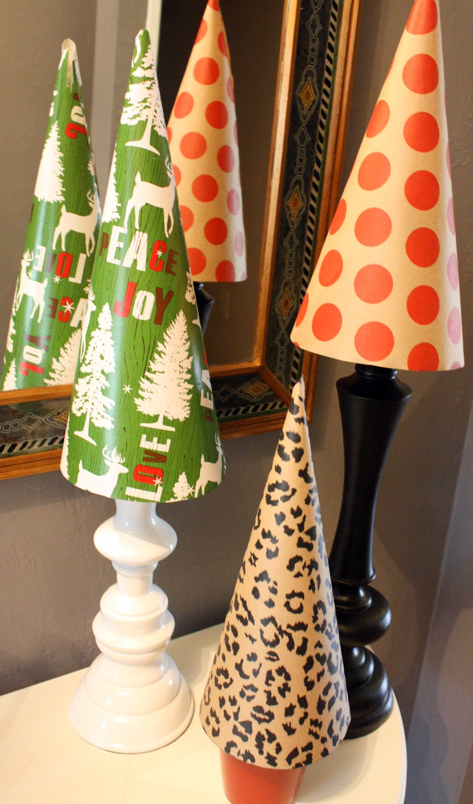 Mantels wrapping paper christmas tree topiaries