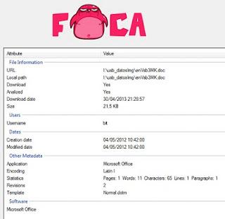 """Abriendo el fichero con """"La FOCA"""""""