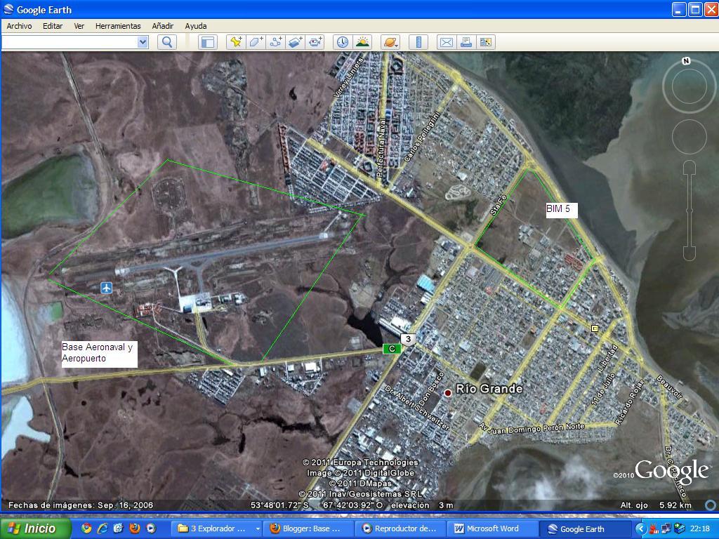 Aerea de la Base Aeronaval Rio Grande, del Aeropuerto y del BIM 5