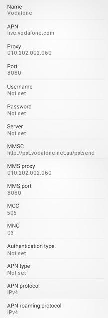 Vodafone Australia 4G APN Settings for Android
