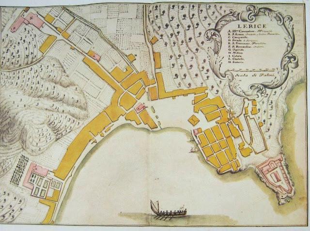Map of Lerici, Liguria  c. 1773  Matteo Vinzoni.
