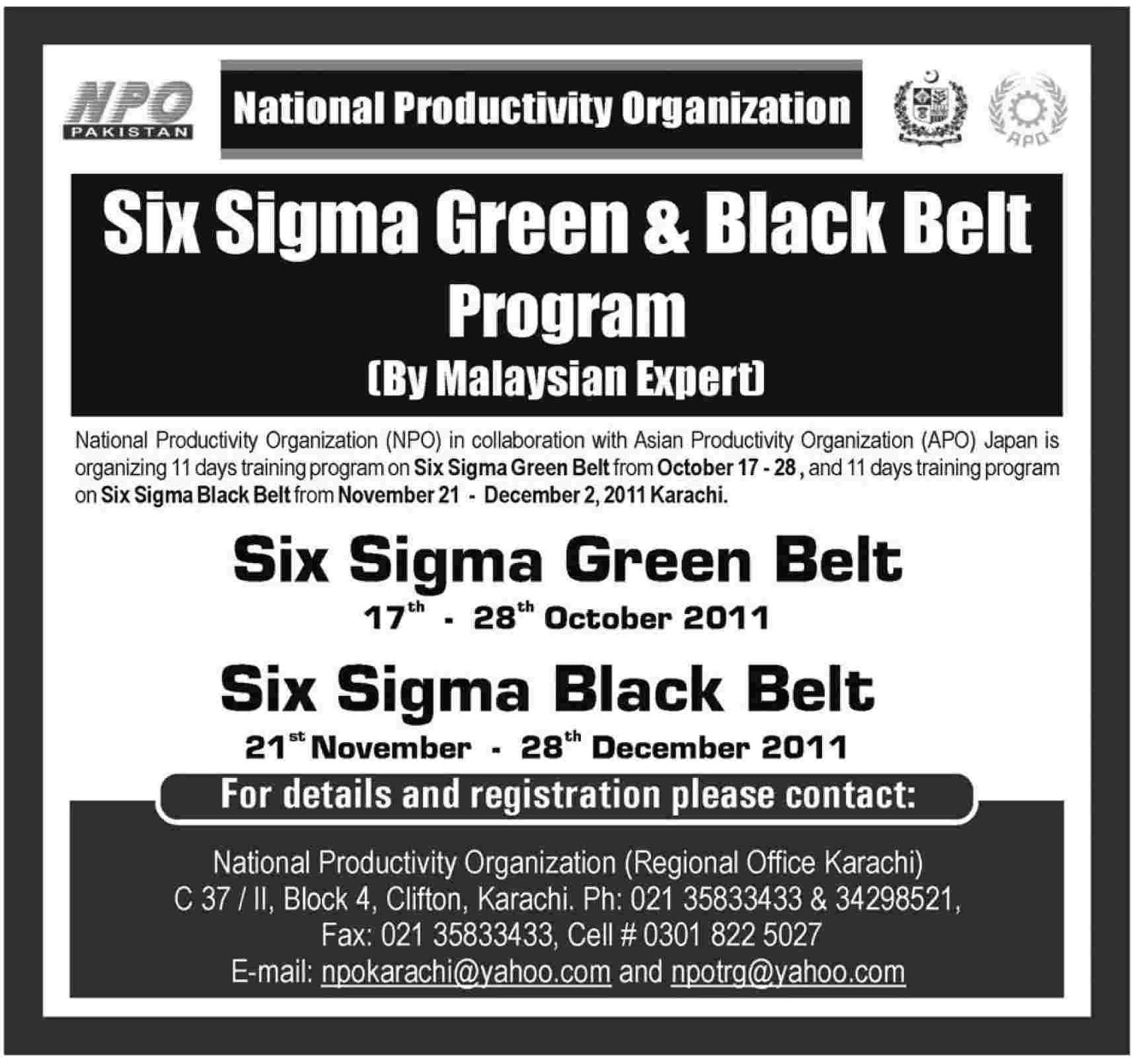 Admission In Pakistan Npo Six Sigma Green And Black Belt Program By