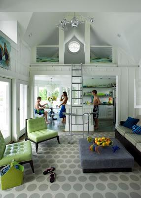modern pool house, small space living, sleeping loft, ladder, modern cottage,