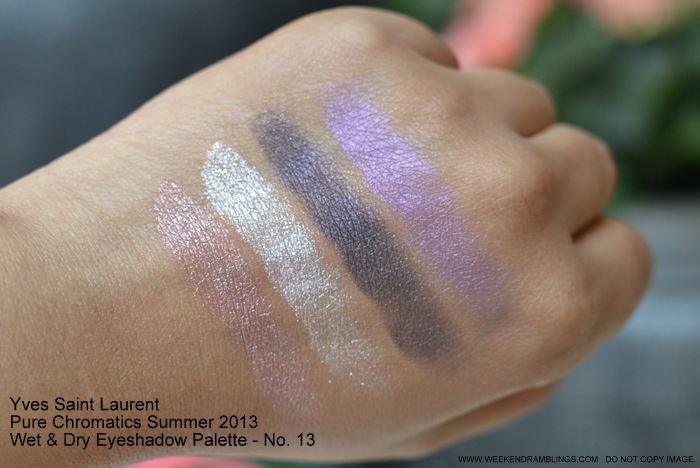 Yves Saint Laurent Pure Chromatics Summer 2013 Makeup Collection Wet Dry Eyeshadow Palette Quad - No 13 - Swatches
