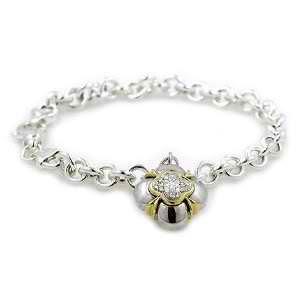 Sterling Silver Rolo Link Charm Bracelet