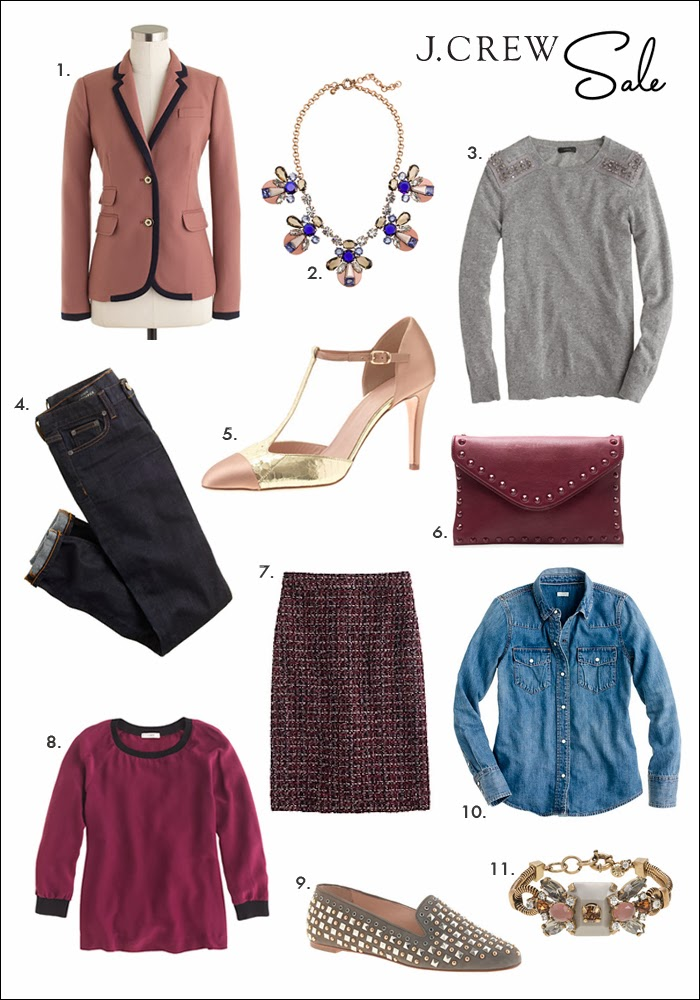 j. crew, schoolboy blazer, statement necklace, jeweled sweater, silk sweatshirt, studded loafers, denim shirt, tweed skirt, christmas gift ideas, what to buy mom, what to buy sister, dark denim, t-strap pumps, holiday shopping, holiday sales, christmas sales, wish list