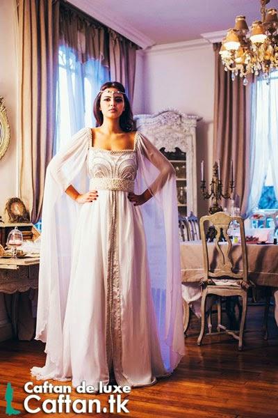 Caftan marocain de mariage blanc 2014