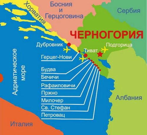 Черногория карта побережья