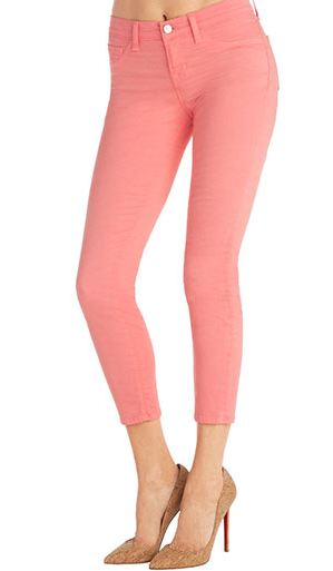Cropped coral skinny jeans