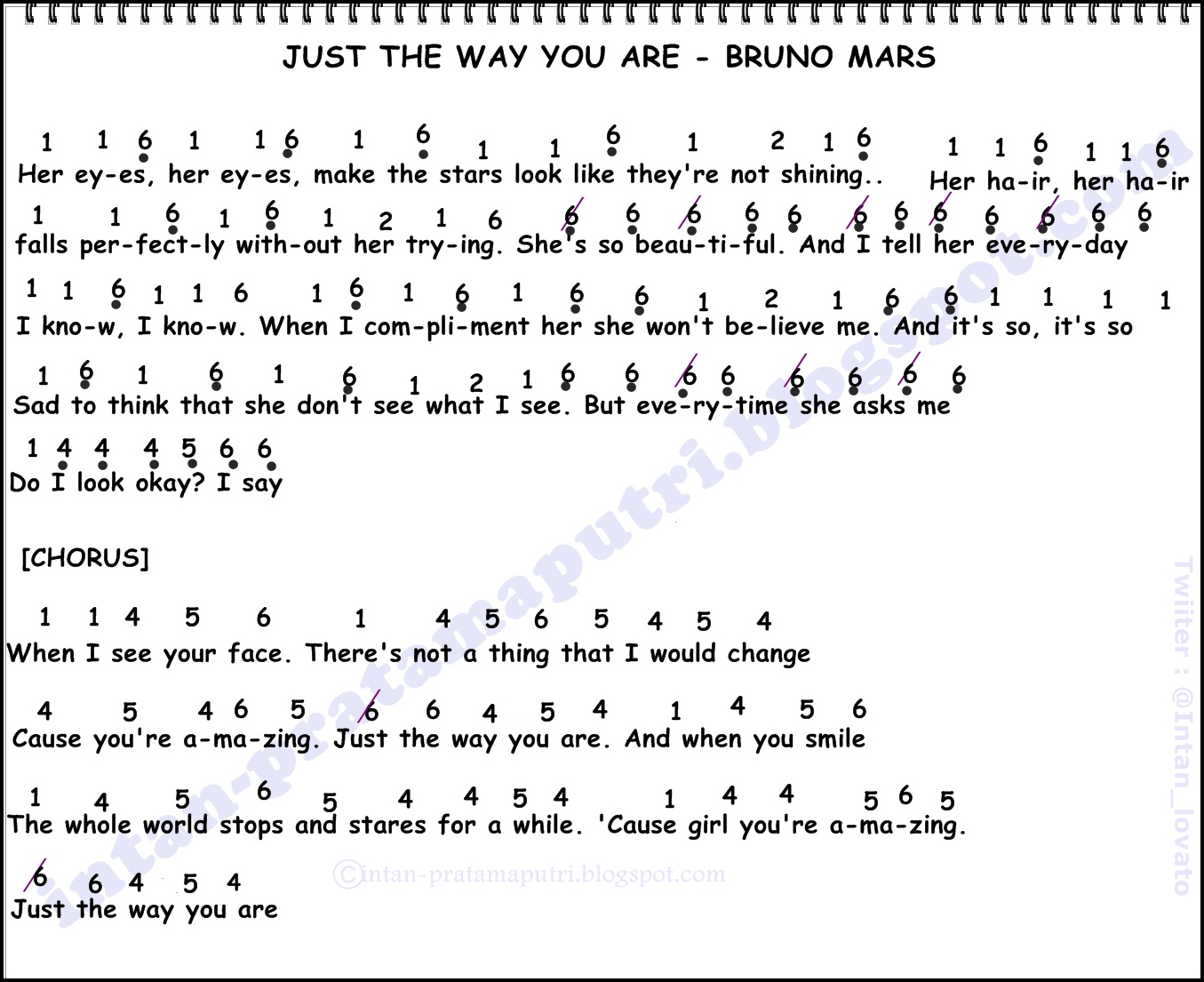 Not Angka Just The Way You Are - Bruno Mars - Intan Pratama Putri