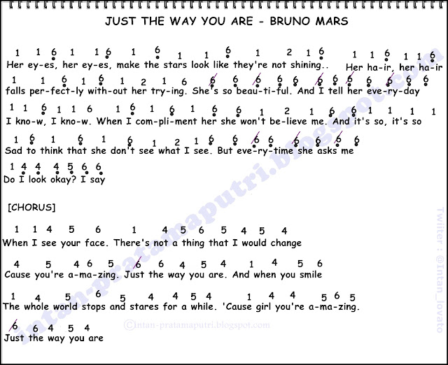 Not Angka Lagu Just The Way You Are - Bruno Mars | Not Angka Lagu