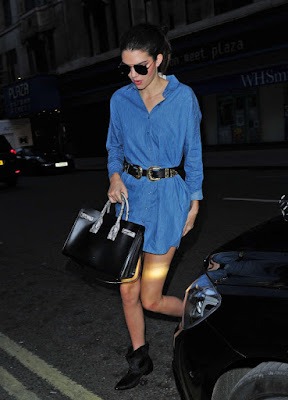 Kendall Jenner in a denim mini dress in London