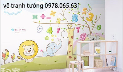 vẽ tranh tường phòng bé,vẽ tranh tường mầm non,vẽ tranh tường cho bé
