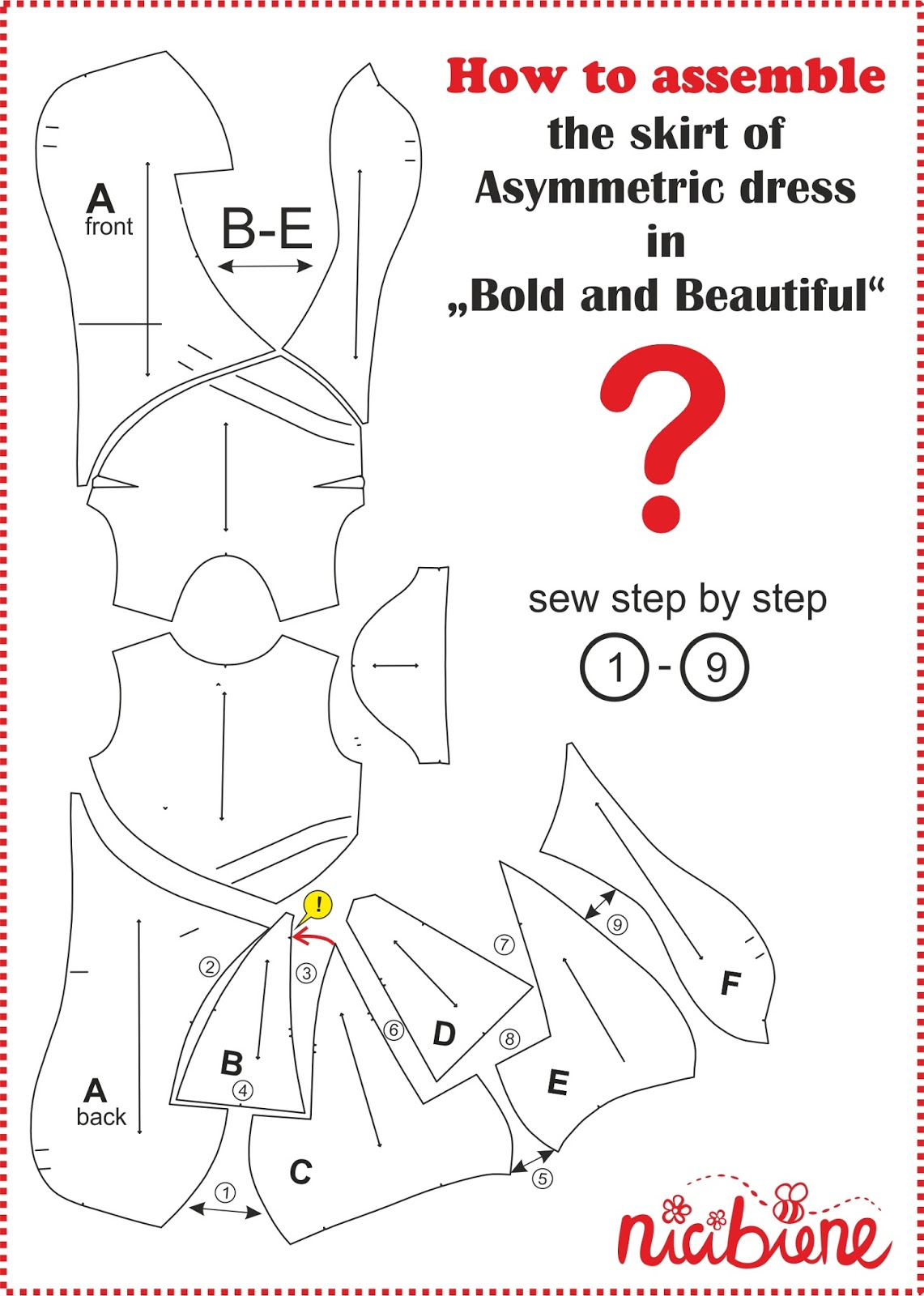 How to assemble the skirt, Bold and Beautiful, asymmetric dress