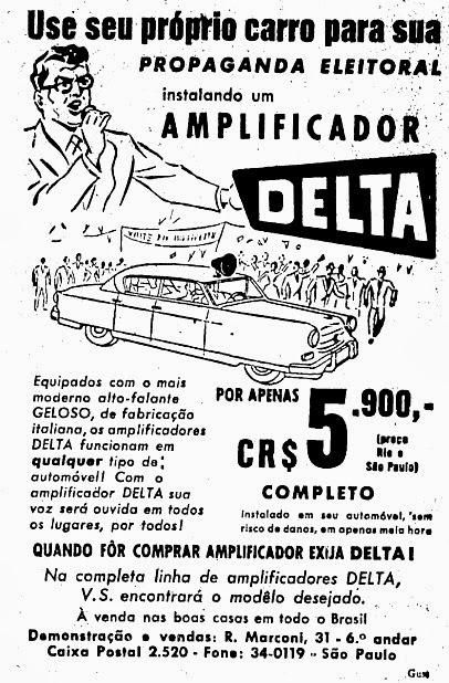 Caixa amplificadora Delta para carro de som em 1955.