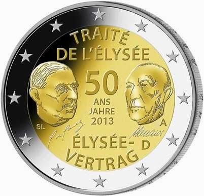 2 Euro Commemorative Coins Germany 2013, German-French Friendship Élysée Treaty