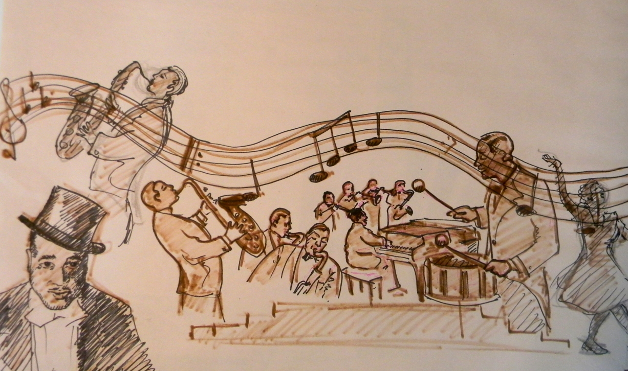 A painting a day week or month nina mateyunas sketch for Duke ellington mural