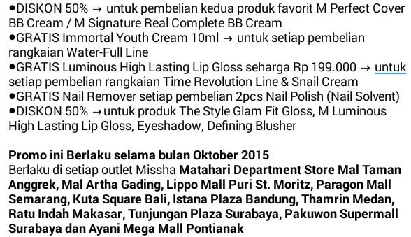 Promo Missha periode Oktober 2015 di Matahari Department Store
