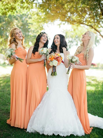 Perfect Sweetheart Orange Chiffon Ruffles Sheath/Column Bridesmaid Dresses