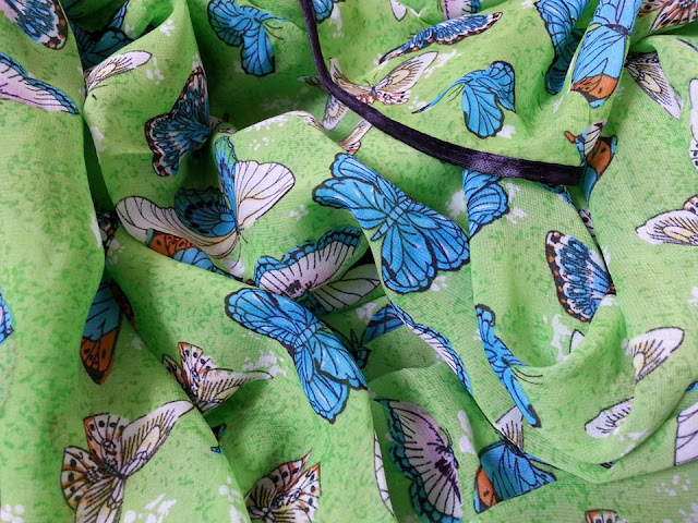 shawl chiffon printed butterfly with piping green