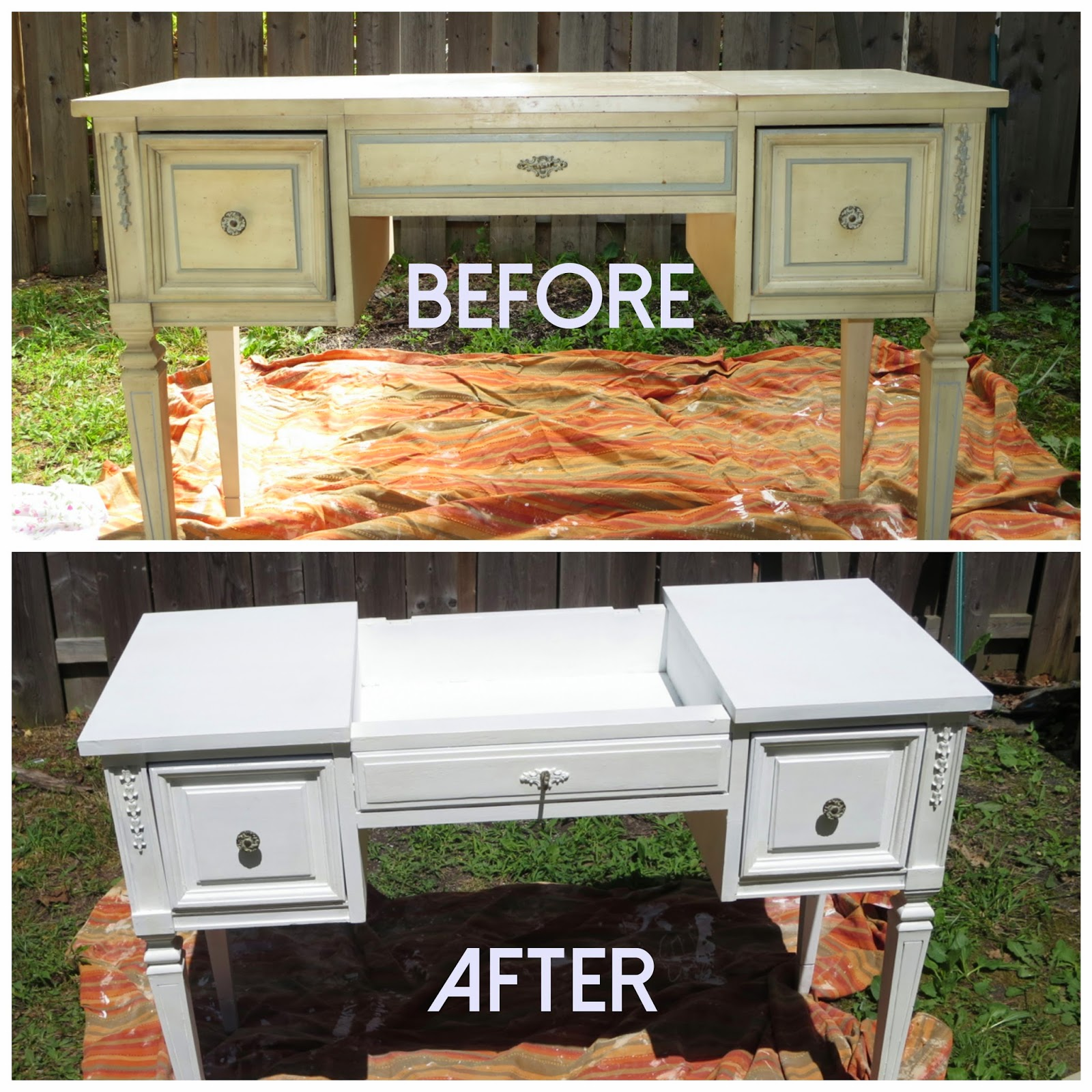 hello crisst how i repainted an old vanity without sanding. Black Bedroom Furniture Sets. Home Design Ideas