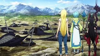 Od lewej: Tuka Luna Marceau, Lelei la Lalena i Rory Mercury patrzące na pole bitwy
