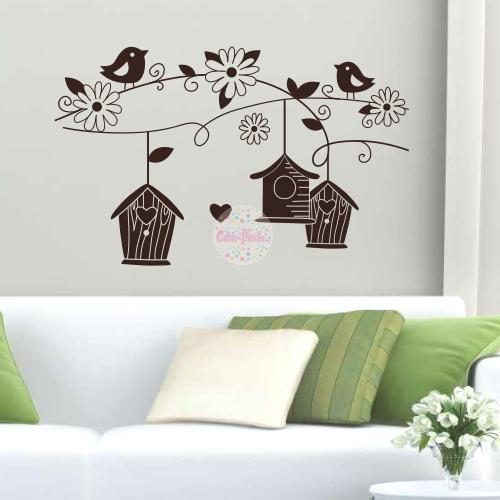 Vinilo decorativo pajaritos en oto o cdm vinilos decorativos para casas y vidrieras - Paredes decoradas con vinilos ...