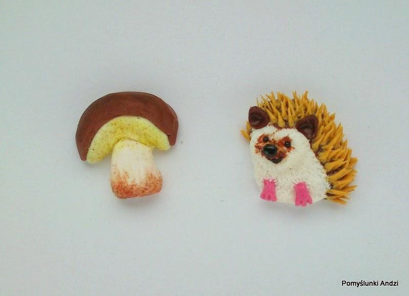earrings, kolczyki, jeż, grzybek, hedgehog